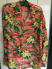 """Vintage 1940s Long Sleeved Rayon Hawaiian Shirt """"Pali Style"""" Red Ocean Sailboats"""