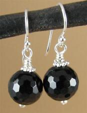 Black onyx earrings. Round, faceted. Sterling silver hooks. Handmade