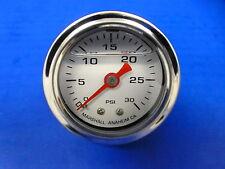 """Marshall Gauge 0-30 psi Fuel Pressure Oil Pressure White 1.5"""" Diameter Liquid"""