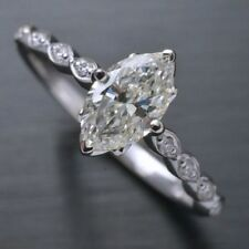 1.15 Ct Marquise Cut Near White Moissanite Engagement Wedding Ring 9K White Gold
