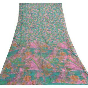 Sanskriti Vintage Green Sarees 100% Pure Silk Printed Sari Soft 5Yd Craft Fabric