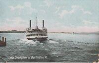 Burlington, Vermont, Moonlight on Lake Champlain, Breakwater Light postcard