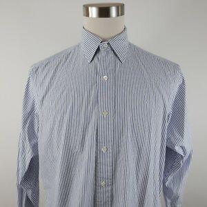 Polo Ralph Lauren Mens Lowell LS Button Up Blue White Striped Dress Shirt 16-33