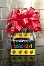 Worlds Best Teacher Candy Gift Box-Basket Wrapped With Red Bow & Card