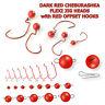 Offset Red Hook with Cheburashka Flexi Jig Head Soft Lure Kit Pike Perch Fishing