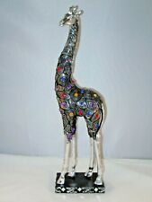 "Giraffe Statue Silver Jeweled Resin Carvings 19"" on Black Stand Safari Decor"