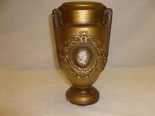 Vtg Old Mid Century Chalk Ware Gold Roman Greek Figural Profile Bust Vase Urn