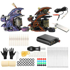 Complete Coil Tattoo Machine Kit Shader Liner Machine Power Supply Tip Grip Set