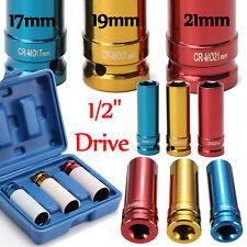 3 Pcs 1/2'' Drive Thin Wall Deep Impact Socket Set Hascrome Wheel 17mm 19mm 21mm