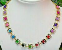 Halskette Metallrahmen gold multicolor bunt mehrfarbig Glas Perlen crash 278g