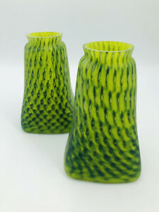 PAIR OF HAND BLOWN GLASS CRAFTSMAN SHADES LIGHT GREEN MULTI - Thick - Lamp