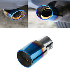 Universal Stainless Steel Car Rear Round Exhaust Pipe Tail Muffler Tip Blue