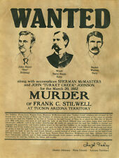WYATT EARP & DOC HOLLIDAY  8 x 10 REPRINT WANTED FOR MURDER POSTER CIRCA 1882