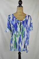 Express - Abstract BLUE green WHITE dolman sleeve SEMI-SHEER button back top