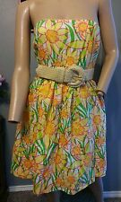 Lilly Pulitzer Daffies Floral Wyatt Straw Belted Strapless Dress 0 XS