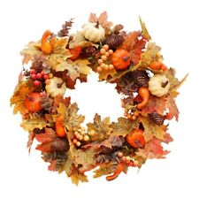 Autumn Theme Door Wreath Artificial Pumpkin Berries Pine Cone Maple Manmade Y8H6