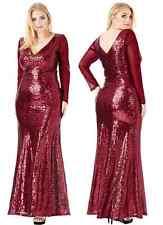 Goddiva Sequin Maxi Long Sleeve Formal Evening Dress Prom Party Ball Full Length