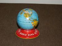 """VINTAGE OHIO ART USA 3 1/2"""" HIGH METAL WORLD GLOBE BANK"""
