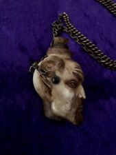 Antique Carved Devil Head Poison Bottle & Iron Chain .Satyr.Snuff. Memento Mori