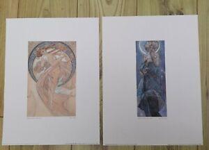 Alphonse Mucha Prints - Dance (1898) / The Moon (1902) 11.9x15.9ins