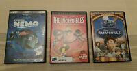 Lot of 3 Disney Pixar DVDs - Ratatouille, The Incredibles, Finding Nemo
