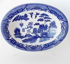 """VINTAGE BLUE WILLOW 10 1/2"""" OVAL SERVING BOWL BLUE AND WHITE JAPAN WILLOW CHINA"""