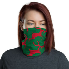 Holiday Face Mask / Red and Green Christmas Themed Reindeer Neck Gaiter