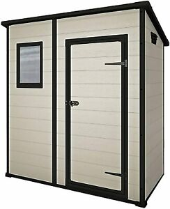 Keter Manor Pent Outdoor Plastic Garden Storage Shed, Beige/Brown, 6 x 4 ft