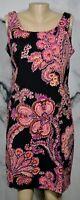 STUDIO I Black Purple Orange Beige Patterned Sleeveless Dress 10 Unlined