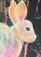 "Ravenous Rabbit Original Acrylic & Oil Painting by K Fuller 2.5""x3.5"""