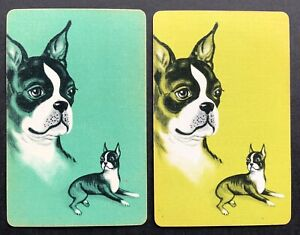 Pair of Vintage Swap/Playing Cards - BOSTON TERRIER DOGS
