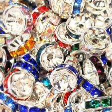 100 pcs AAA silver glass crystal roundel spacer beads, 8 mm, option for colours