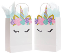 QUOKKALOCO 10-Pack Luxe Unicorn Birthday Party Favor/Goodie Bags w/Handles