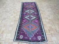3'9 x 9'9 Runner Hand Knotted Purple Vintage Turkish Oushak Oriental Rug G7478