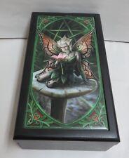 """ACK Anne Stokes """"Mushroom Fairy"""" Fantasy Tile Lined Black Wooden Box New"""