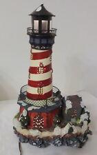 Vtg Village Collectibles Lighthouse Porcelain Christmas House Fiber Optic House