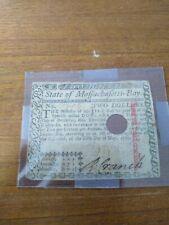 1780 Massachusetts Colonial Currency $2 Note