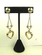 Vintage Earrings Heart Dangle Open Silver
