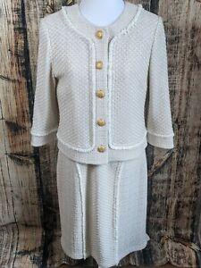 St. John 2 Pc Suit Dress & Jacket Womens 10/12 Ivory Tan Lacy Knit Fringe Formal