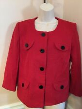 NEW w/tags -Women's -3/4 Career Jacket -Sz 12 -Red -Kim Rogers-Button Down -NICE