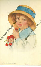 GRACE WIEDERSEIM(DRAYTON)UNSIGNED-LITTLE GIRL EATING CHERRIES-1913-(SA-726)