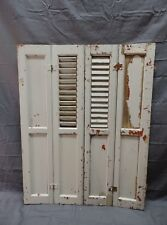 Antique Bi-fold Window Wood Louvered Paneled Shutters 33x25 Interior Vtg 421-18P