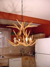 FAUX ANTLER WHITETAIL CHANDELIER 4 LIGHT SOCKETS, LAMPS, CDN DESIGN