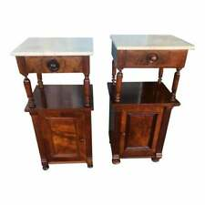 Superb Pair of Marble Top American Mahogany & Walnut Nightstands