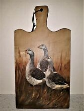 Betty Fischer AMERICANA FOLK ART Painting Primitive Country Geese Cutting Board