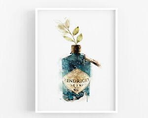 Botanical Gin Print,Alcohol Wall Print,Hendricks Wall Art,Kitchen Print,Decor