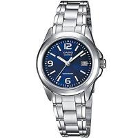 Casio Damenuhr LTP-1259PD-2A Armbanduhr Edelstahl Blau Silber Datum NEU & OVP
