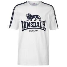 Lonsdale Large Logo T Shirt Mens 2 Stripe White Navy XLARGE  A333-29