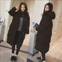 Womens Hooded Long Winter Coat Loose Warm Jacket Outwear Casual Over Knee Length