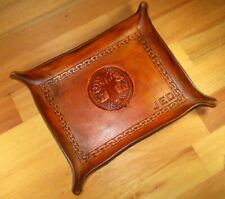 Leather Valet Tray. Image Animal ,  Personalized  Change tray, Bowl.